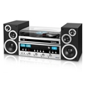 Innovative Technology 50 Watt CD Stereo with Record Player with Bluetooth and 3-Speed Turntable (Silver)