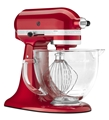 KitchenAid KSM155GBCA Artisan Design Series Stand Mixer with Glass Bowl - Candy Apple Red