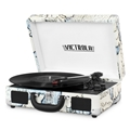 Victrola Bluetooth Suitcase Record Player with 3-Speed Turntable (Tan - Map Design)