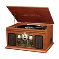 Victrola 6-in-1 Nostalgic Bluetooth Record Player with 3-speed Turntable Dark Brown (Mahogany)