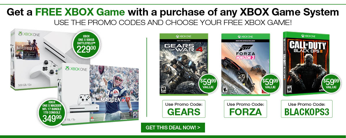 Get a FREE XBOX Game with a purchase of any XBOX Game System