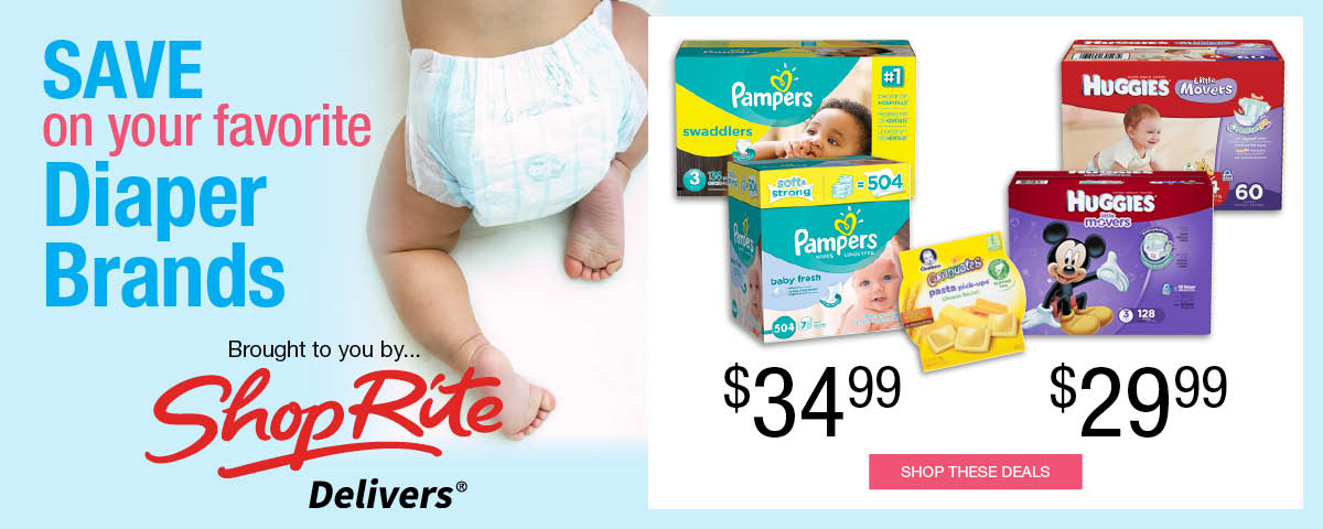 Save on your favorite diaper brands Huggies and Pampers