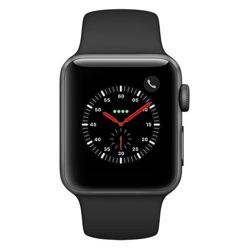 Apple Watch Series 3 38mm Smartwatch (GPS Only, Space Gray Aluminum Case, Black Sport Band)