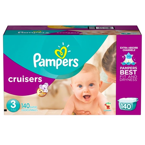 Pampers Cruiser Diapers - Size 3 <br/> 140ct Case of 1