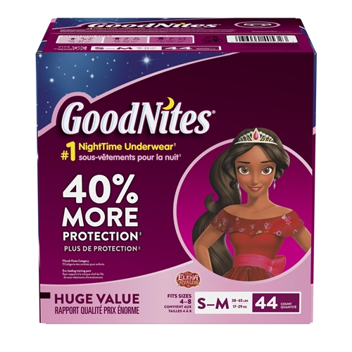 GoodNites Bedtime Bedwetting Underwear for Girls, S-M, 44 Ct.  (Packaging May Vary)