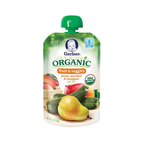 Gerber 2nd Foods Organic Pouch - Pear, Zucchini & Mango <br> 3.5 oz - Case of 12